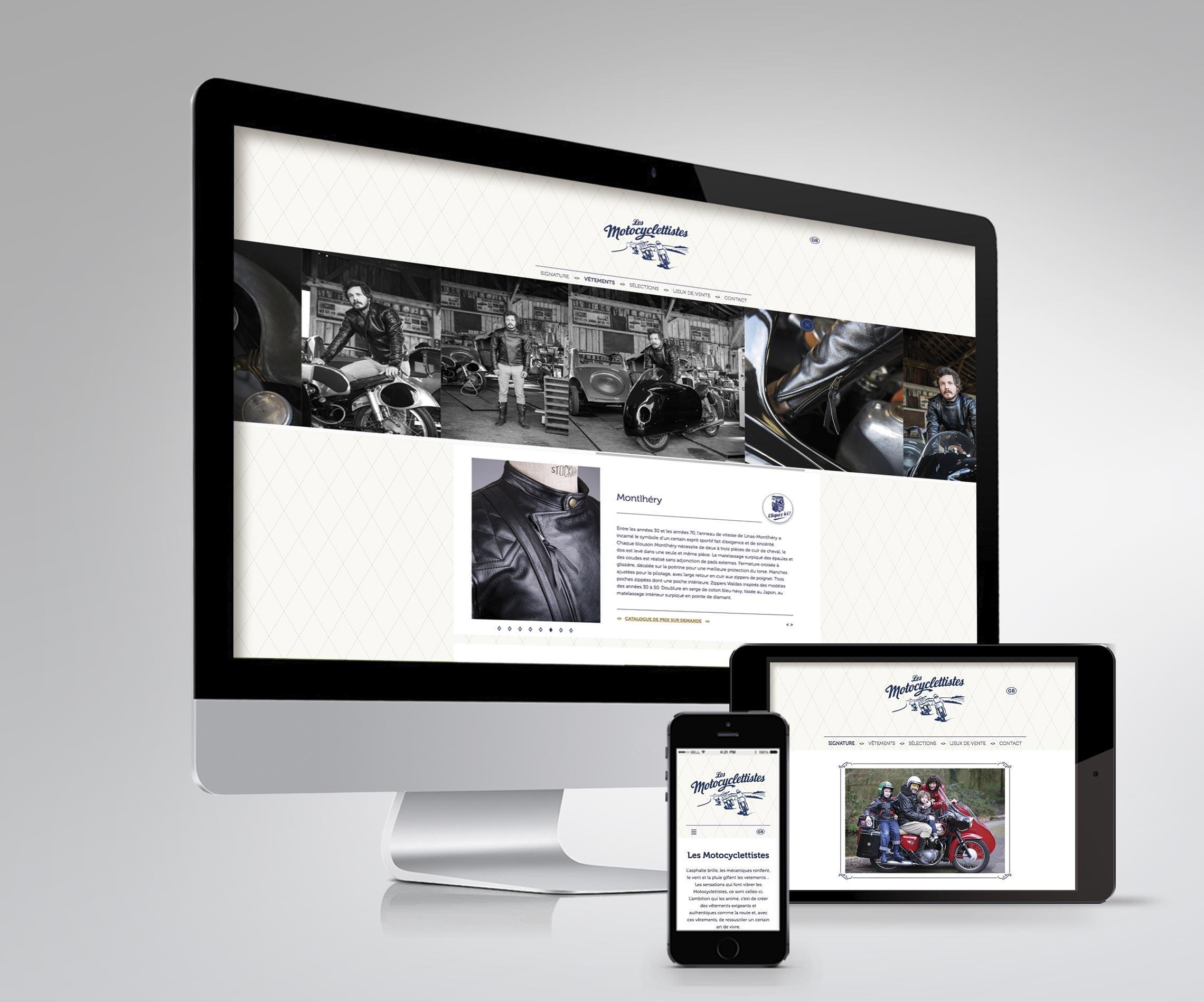Site internet Les Motocyclettistes créé par Maindor sur les différents supports