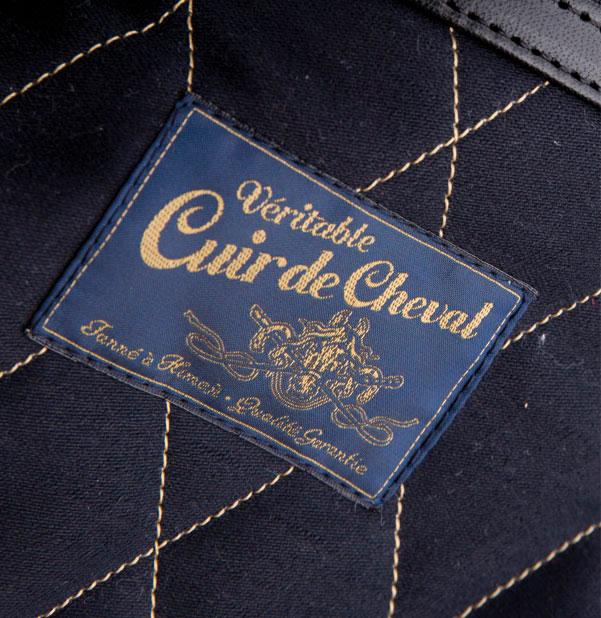 Etiquette Véritable cuir de cheval créé pour Les Motocyclettistes par Maindor