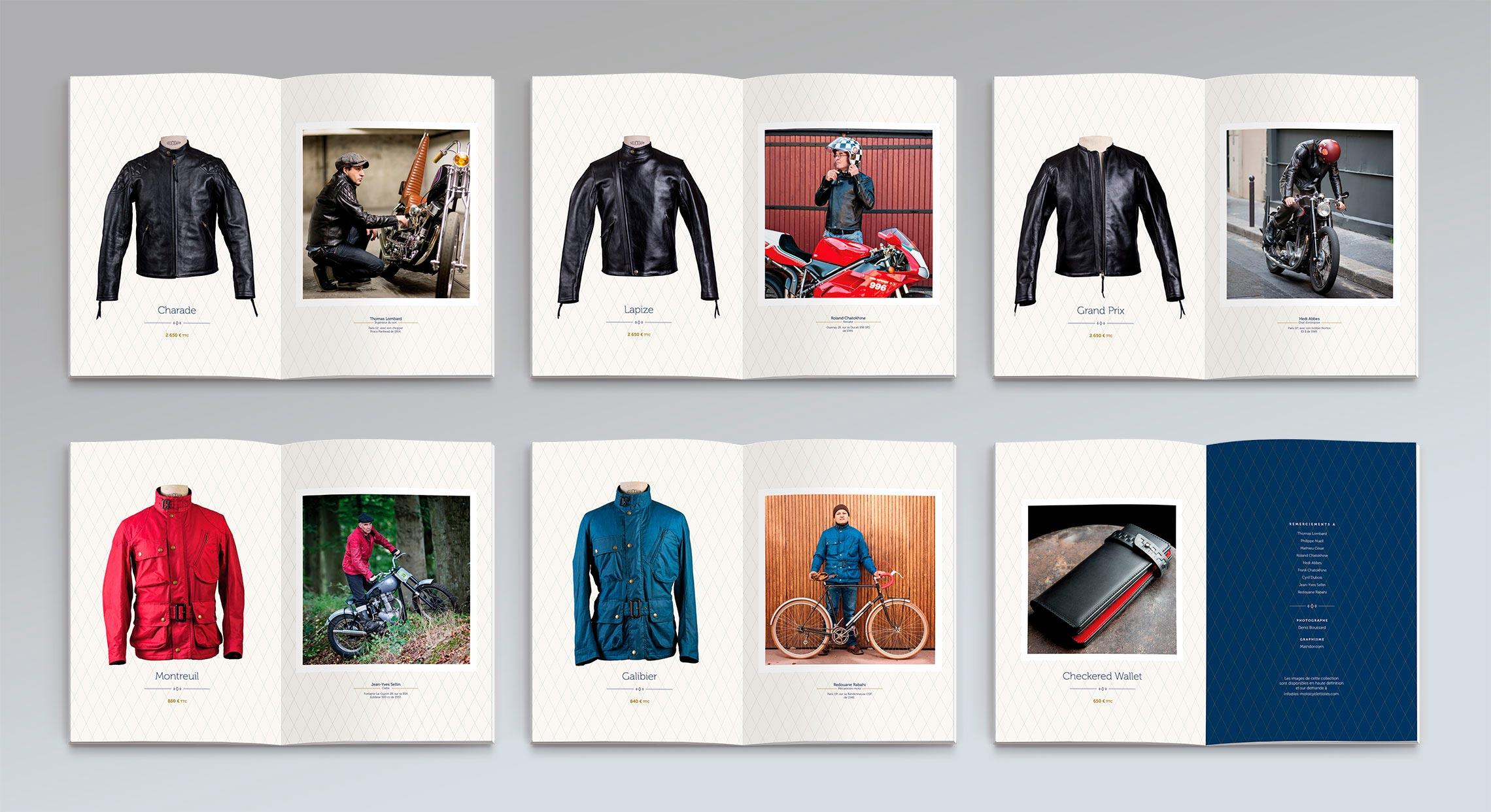 Catalogue produits Les Motocyclettistes maquetté et réalisé par Maindor